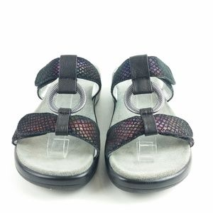 Alegria Shoes - Alegria 6 Black Snake Print Slip On Sandals S21-8